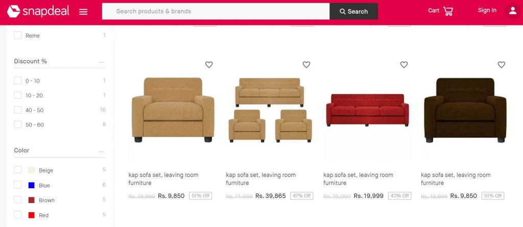 Snapdeal - Buy Furniture Online India